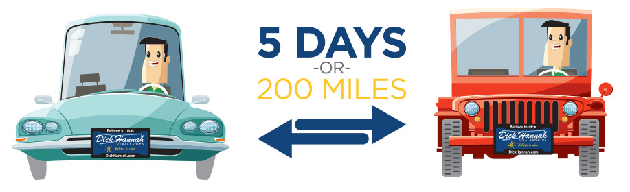 5 days or 200 miles exchange